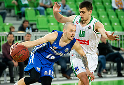 Miha Vasl of Rogaska vs Roko Badzim of Petrol Olimpija during basketball match between KK Petrol Olimpija and KK Rogaska in Round #5 of Liga Nova KBM za prvaka 2018/19, on March 31, 2019, in Arena Stozice, Ljubljana, Slovenia. Photo by Vid Ponikvar / Sportida