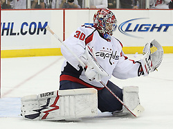 Mar 18; Newark, NJ, USA; Washington Capitals goalie Michal Neuvirth (30) makes a save during the second period at the Prudential Center.