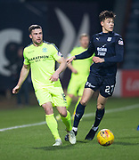 22nd February 2019, Dens Park, Dundee, Scotland; Ladbrokes Premiership football, Dundee v Hibernian; Lewis Stevenson of Hibernian and Jesse Curran of Dundee