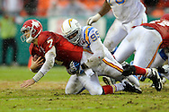 October 25, 2009:   Linebacker Shaun Phillips #95 of the San Diego Chargers sacks quarterback Matt Cassel #7 of the Kansas City Chiefs in the fourth quarter at Arrowhead Stadium in Kansas City, Missouri.  The Chargers defeated the Chiefs 37-7...