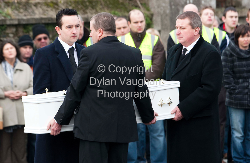 1/1/2009.The Coffin of Nadia Whelan with family and friends pictured at the Funeral of Sharon, Nadia (2) and Zsara (7) Whelan in Wingap county Kilkenny yesterday..Picture Dylan Vaughan.