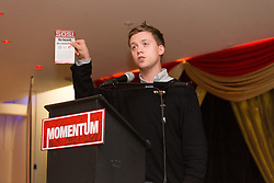 © Licensed to London News Pictures. 24/10/2015. London, UK. Journalist and political activist, Owen Jones speaking at the Labour Party Momentum event held at the Waterlilly in Whitechapel, east London. Momentum is a new successor entity to the Jeremy Corbyn for Labour Leader campaign which works with people who supports Corbyn's aim of creating a more fair, equal and democratic society. Photo credit : Vickie Flores/LNP