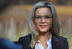 November 2, 2018 - Krakow, Poland - Malgorzata Wassermann during her final press conference ahead of the 2nd round of local elections 2018 that take place on Sunday, November 4th. .The current Mayor of Krakow Jacek Majchrowski won the first round with 45.84% ahead of Malgorzata Wassermann who scored 31.88%..On Friday, November 2, 2018, in Krakow, Poland. (Credit Image: © Artur Widak/NurPhoto via ZUMA Press)