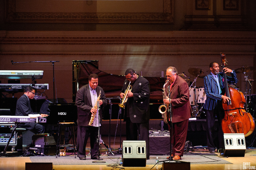"Herbie Hancock, Wayne Shorter, Wallace Roney, Joe Levano and Dave Holland at Herbie Hancock's ""Seven Decades: The Birthday Celebration"" at Carnegie Hall. June 24, 2010"