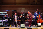 "Herbie Hancock, Wayne Shorter, Wallace Roney, Joe Levano and Dave Holland at Herbie Hancock's ""Seven Decades: The Birthday Celebration"" at Carnegie Hall. June 24, 2010"