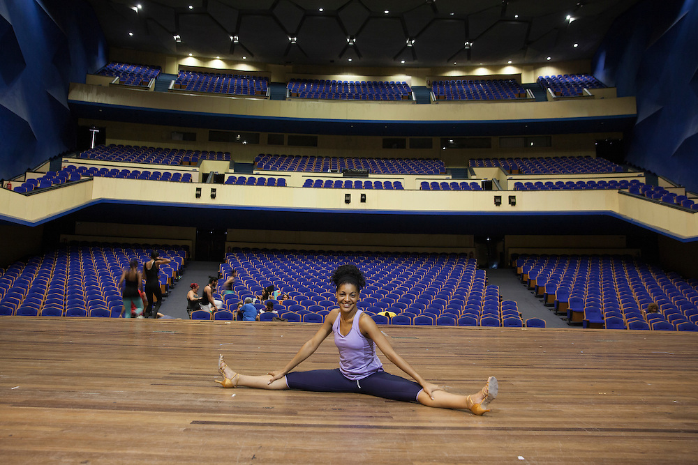 Dancer Yaima Fernandez, of the Yor Dance company, during a company's rehearsal at the Cuban National Theatre.