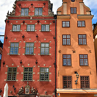 Houses Number 18 and 20 in Stortorget Square in Stockholm, Sweden <br />