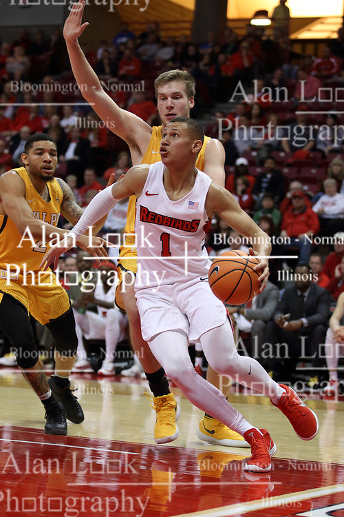 27 January 2018:  Elijah Clarance moves to the lane along the baseline for a reverse bucket during a College mens basketball game between the Valparaiso Crusaders and Illinois State Redbirds in Redbird Arena, Normal IL