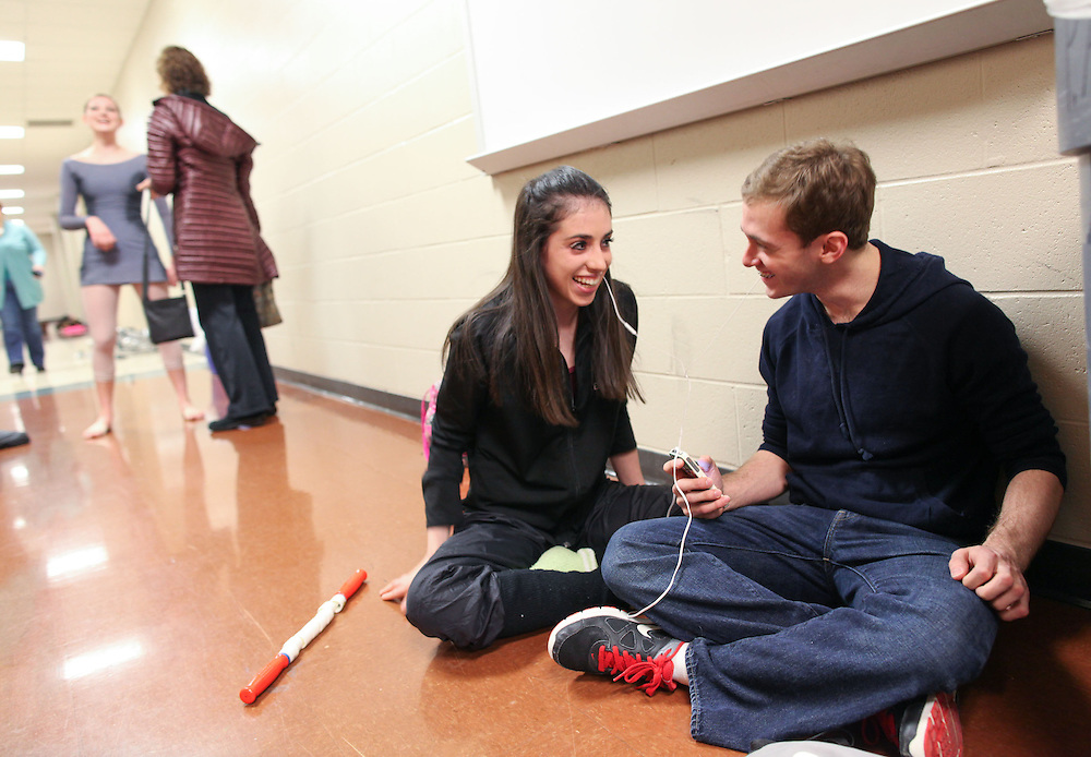 Dancers Eise Shea and Mark Pecar talk and listen to music backstage before performing at the The Youth American Grand Prix Semi-Regionals at Zionsville High School Saturday March 9, 2013..Photo by Chris Bergin..