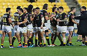 Wellington Lions players celebrate their win during the Mitre 10 Cup rugby match between the Wellington Lions & Canterbury at Westpac Stadium, Wellington. Friday 23rd August 2019. Copyright Photo: Grant Down / www.Photosport.nz