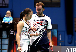 Emily Westwood of Bristol Jets and Ben Lane of Bristol Jets during their mixed doubles match against Team Derby - Photo mandatory by-line: Robbie Stephenson/JMP - 07/11/2016 - BADMINTON - University of Derby - Derby, England - Team Derby v Bristol Jets - AJ Bell National Badminton League