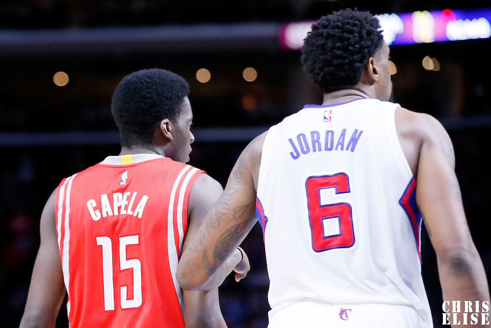 11 February 2015: Houston Rockets center Clint Capela (15) is seen next to Los Angeles Clippers center DeAndre Jordan (6) during the Los Angeles Clippers 110-95 victory over the Houston Rockets, at the Staples Center, Los Angeles, California, USA.