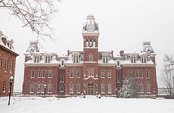 Saturday, Jan. 22, 2016: West Virginia University's Woodburn Hall is seen on campus in Morgantown, W.Va. after Winter Storm Jonas ripped through North Central West Virginia and dumped nearly 18 inches of snow. (Photo by Ben Queen)