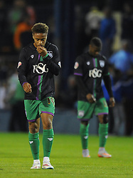 Bobby Reid of Bristol City cuts a dejected figure as his side lose 3-1 to Luton Town in the Capital One Cup first round - Mandatory byline: Dougie Allward/JMP - 07966386802 - 11/08/2015 - FOOTBALL - Kenilworth Road -Luton,England - Luton Town v Bristol City - Capital One Cup - First Round