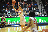 "Ole Miss' Gracie Frizzell (12) makes a three pointer vs. Arkansas at the C.M. ""Tad"" Smith Coliseum in Oxford, Miss. on Friday, January 2, 2015. (AP Photo/Oxford Eagle, Bruce Newman)"