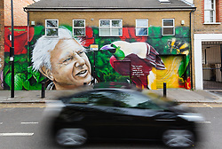 "© Licensed to London News Pictures. 06/05/2019. London, UK.  A car travels past a new David Attenborough Mural painted on the side of a house in St Matthew's Row, east London.  The mural by urban artist, Jerome shows natural historian, David Attenborough with a message, ""There is no question climate change is happening. The only arguable point is what part humans are playing in it"". Photo credit: Vickie Flores/LNP"