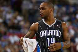 March 9, 2011; Sacramento, CA, USA;  Orlando Magic point guard Jameer Nelson (14) during a time out during the first quarter against the Sacramento Kings at the Power Balance Pavilion. Orlando defeated Sacramento 106-102.