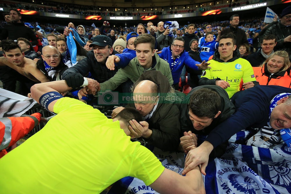 23 February 2017 - UEFA Europa League - (Round of 32) - Tottenham Hotspur v KAA Gent - Stefan Mitrovic of K.A.A. Gent celebrates with the fans after the victory  - Photo: Marc Atkins / Offside.