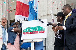 June 24, 2017 - Philadelphia, Pennsylvania, U.S - NATHAN MORRIS, WANYA MORRIS, and SHAWN STOCKMAN of Grammy Award wining group, Boyz II Men,remove the cover of their street sign at their street dedication at the Philadelphia High School for the Creative and Performing Arts in Philadelphia Pa (Credit Image: © Ricky Fitchett via ZUMA Wire)