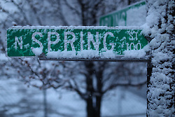LOUISVILLE, Ky., -- A first day of spring snow blanketed the region, Tuesday, March 20, 2018 at the Parks and Surface Streets in LOUISVILLE.