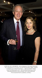 LORD & LADY WEINBERG, she is designer Anouska Hempel, at a reception in London on 27th November 2000.OJM 9