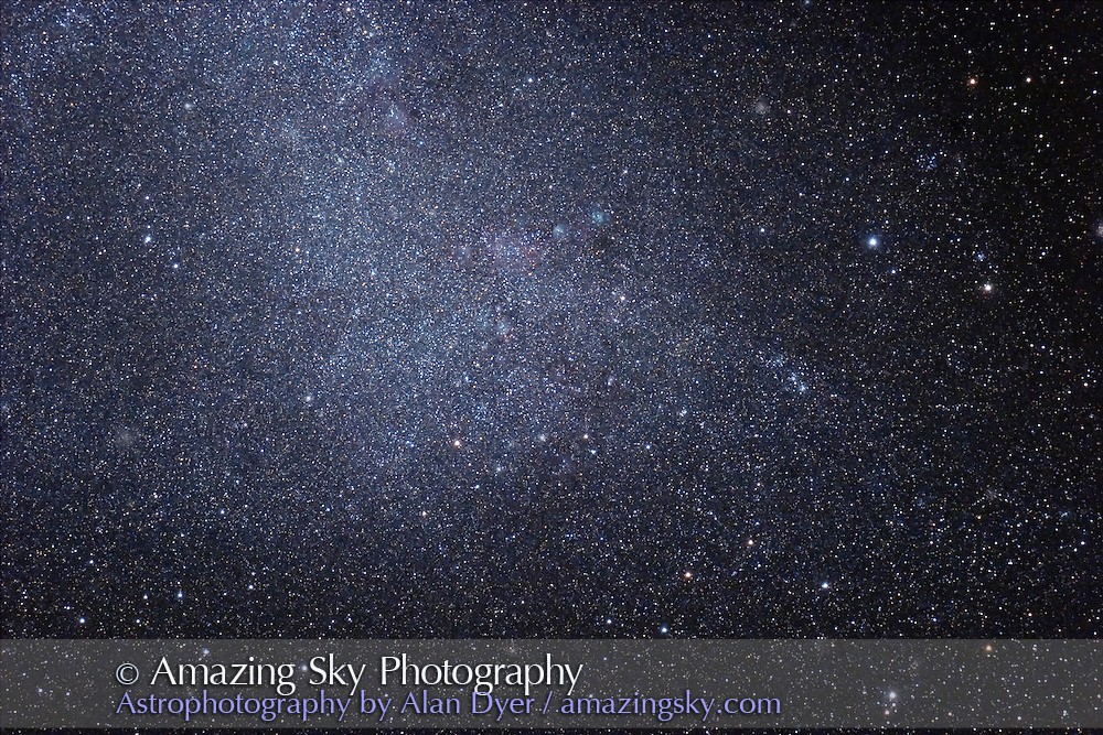 Small Magellanic Cloud field -- NGC 241 area (largest cluster on chart but not conspicuous here) -- with two nebulas being NGC 261 and 249 (right). <br /> Numerous other clusters in field. Taken July 30, 2006 from Queensland, Australia. Taken with 4inch Astro-Physics Traveler apo refractor at f/6 with Canon 20Da camera at ISO800 for 6 minutes each. Stack of two exposures. Object still fairly low in sky.