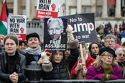 London, UK. 11 January, 2020. Anti-war activists attend the No War on Iran demonstration in Trafalgar Square organised by Stop the War Coalition and the Campaign for Nuclear Disarmament to call for deescalation in the Middle East following the assassination by the United States of Iranian General Qassem Soleimani and the subsequent Iranian missile attack on US bases in Iraq.
