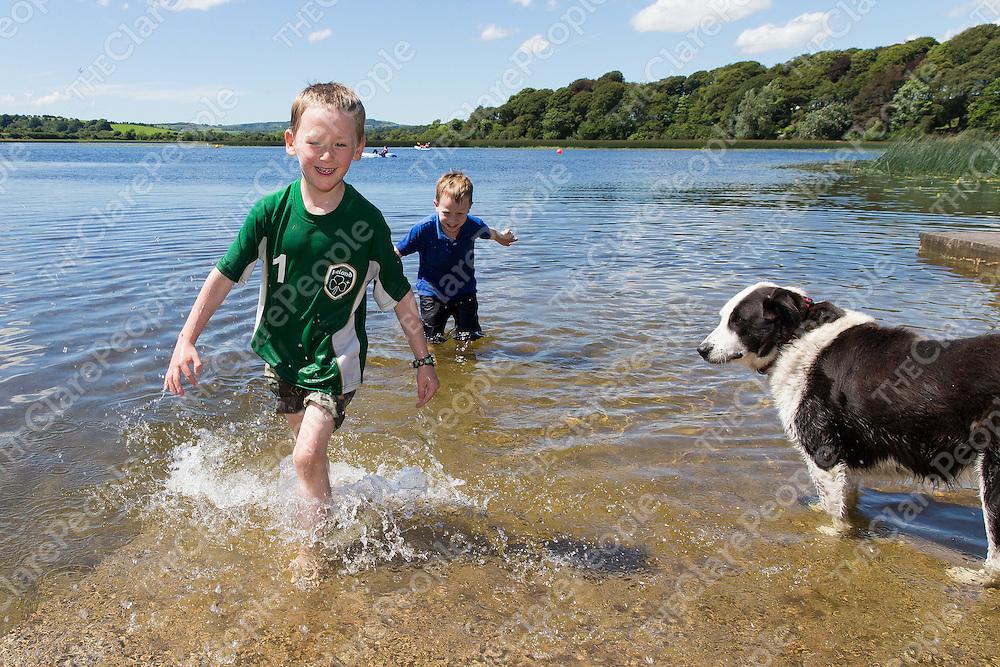 Kyle Hogan and Shane Carey from Ennis splashing around in the sunshine at Ballyalla Lake on Monday afternoon