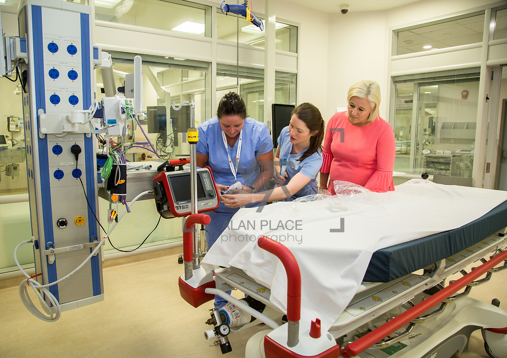 29.05. 2017.                                             <br /> IRELAND&rsquo;S largest and most advanced Emergency Department has opened this Monday at University Hospital Limerick.<br /> <br /> Pictured in the new Resusatation unit at the Emergency Department are UHL CEO Colette Cowan with nurses, Eimear Hickey and Una Ryan<br /> <br /> A &euro;24 million project (development and equipment costs), the ED spans 3,850 square metres of floor space, over three times the size of the old department. In 2016, UHL had the busiest ED in the country, with over 64,000 attendances. Picture: Alan Place
