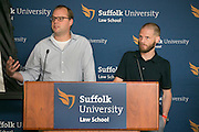 """This is Mathew Burnett, left and Adam Friedl at the """"Hackness to Justice 2014 Hackathon"""" session at the 2014 annual meeting of the American Bar Association in Boston at Suffolk University Law School.  photo by Kathy Anderson"""