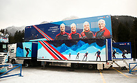 TOBLACH,ITALY,05.JAN.17 - NORDIC SKIING, CROSS COUNTRY SKIING - FIS World Cup, Tour de Ski, preview. Image shows the truck of the team NOR. den norske bussen , <br /> Norway only