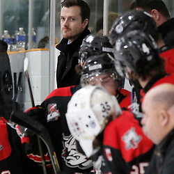 TRENTON, ON  - MAY 5,  2017: Canadian Junior Hockey League, Central Canadian Jr. &quot;A&quot; Championship. The Dudley Hewitt Cup. Game 7 between The Georgetown Raiders and The Powassan Voodoos. Georgetown Raiders Assistant Coach Andrew Martin during the first period <br /> (Photo by Amy Deroche / OJHL Images)