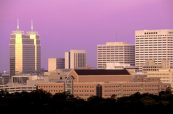 Stock photo of The Texas Medical Center at sunset.
