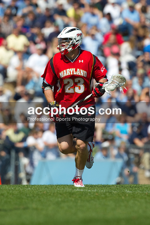 27 March 2010: Maryland Terrapins attackman Will Yeatman (23) during a 9-7 loss to the North Carolina Tar Heels on Fetzer Field in Chapel Hill, NC.