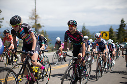Barbara Guarischi (ITA) of CANYON//SRAM Racing rides up the Emerald Bay climb during the first, 117 km road race stage of the Amgen Tour of California - a stage race in California, United States on May 19, 2016 in South Lake Tahoe, CA.