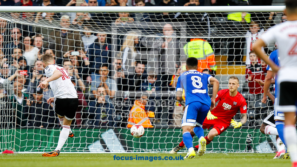 Daniel Bentley of Brentford saves Tom Cairney of Fulham's penalty kick during the Sky Bet Championship match between Fulham and Brentford at Craven Cottage, London<br /> Picture by Mark D Fuller/Focus Images Ltd +44 7774 216216<br /> 29/04/2017