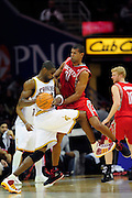 Feb. 23, 2011; Cleveland, OH, USA; Cleveland Cavaliers power forward Antawn Jamison (4) runs into Houston Rockets small forward Shane Battier (31) during the third quarter at Quicken Loans Arena. The Rockets beat the Cavaliers 124-119. Mandatory Credit: Jason Miller-US PRESSWIRE