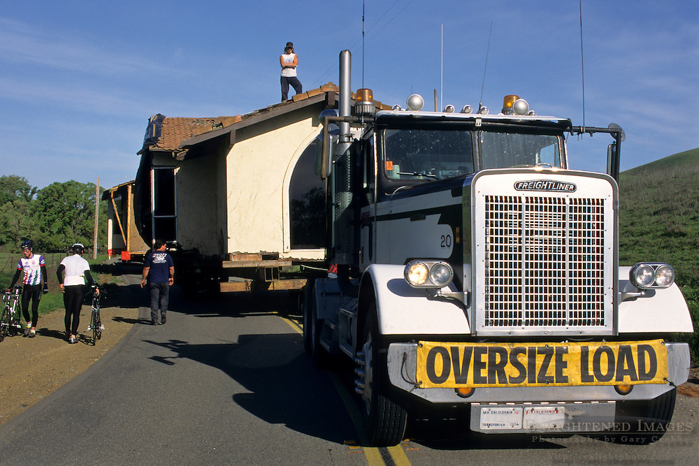 OVERSIZE LOAD - Truck moving a house @ 1 m.p.h., Tassajara Region, Contra Costa County, CALIFORNIA