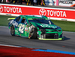 September 30, 2018 - Charlotte, NC, U.S. - CHARLOTTE, NC - SEPTEMBER 30: #42: Kyle Larson, Chip Ganassi Racing, Chevrolet Camaro Clover/First Data during the running of the  Bank of America ROVAL 400 on Sunday September 30, 2018 at Charlotte Motor Speedway in Concord North Carolina  (Photo by Jeff Robinson/Icon Sportswire) (Credit Image: © Jeff Robinson/Icon SMI via ZUMA Press)