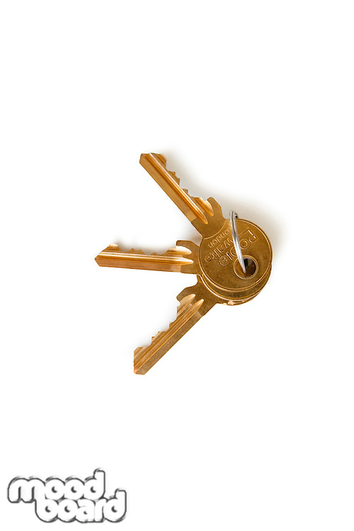 Set of keys over white background