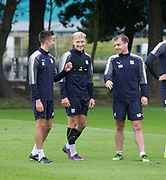 Dundee&rsquo;s A-Jay Leitch-Smith with Cammy Kerr and Paul McGowan during Dundee training at the University Grounds, Riverside, Dundee<br /> <br />  - &copy; David Young - www.davidyoungphoto.co.uk - email: davidyoungphoto@gmail.com
