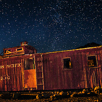 Old caboose at Rhyolite Ghost Town, Nevada.