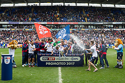 Free to use courtesy of Sky Bet - Bolton Wanderers celebrate after finishing the season as Sky Bet League One runners up to secure automatic Promotion to the 2017/18 Sky Bet Championship - Rogan Thomson/JMP - 30/04/2017 - FOOTBALL - Macron Stadium - Bolton, England - Bolton Wanderers v Peterborough United - EFL Sky Bet League One.