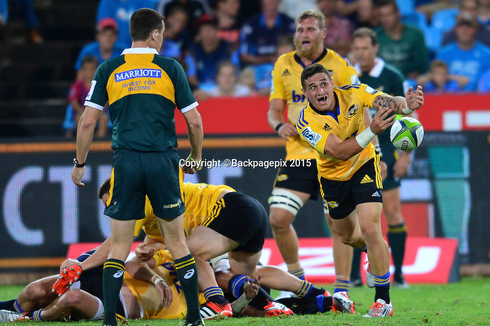 TJ Perenara of the Hurricanes during the 2015 Super Rugby rugby match between the Bulls and the Hurricanes at Loftus Versfeld in Pretoria, South Africa on February 20, 2015 ©/BackpagePix