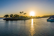 Paddleboarding the East Basin of Dana Point Harbor at Sunset