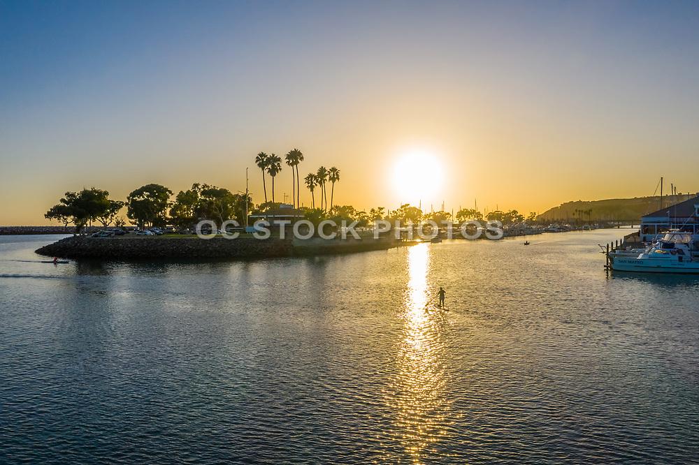 Paddleboarding the East Basin of Dana Point Harbor at Sunset