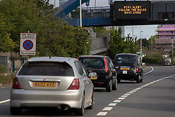 © Licensed to London News Pictures. 13/05/2020. London, UK. A sign displays the government's new coronavirus message to traffic on the A102 in Greenwich south east London during rush hour. A number of lockdown restrictions have been eased today. Photo credit: George Cracknell Wright/LNP