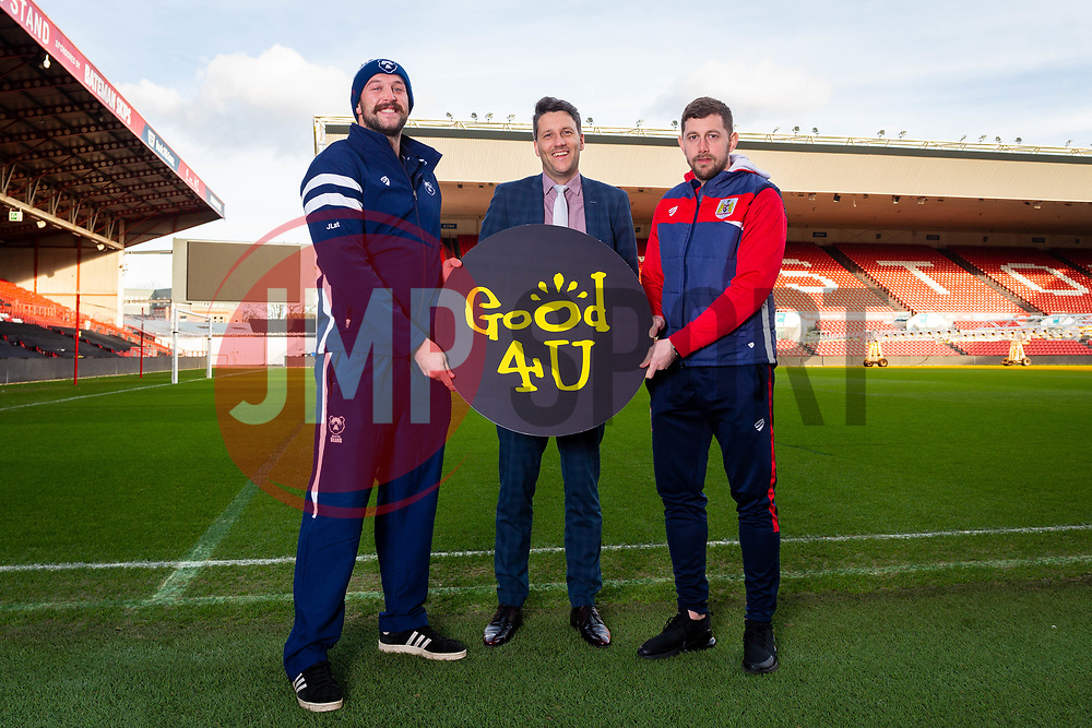 Bristol Bears Joe Latta, Good 4 U's Karol Butler, Bristol Citys Frankie Fielding - Ryan Hiscott/JMP - 09/01/2019 - COMMERCIAL - Ashton Gate - Bristol, England - Bristol Sport Announce Sponsor Partnership with Good 4 U