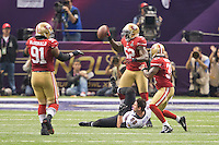 3 February 2013: Linebacker (52) Patrick Willis of the San Francisco 49ers holds the ball after tackling (88) Dennis Pitta of the Baltimore Ravens during the second half of the Ravens 34-31 victory over the 49ers in Superbowl XLVII at the Mercedes-Benz Superdome in New Orleans, LA.