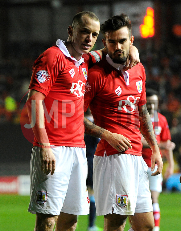 Bristol City's Aaron Wilbraham celebrates his goal with Bristol City's Marlon Pack  - Photo mandatory by-line: Joe Meredith/JMP - Mobile: 07966 386802 - 17/03/2015 - SPORT - Football - Bristol - Ashton Gate - Bristol City v Crewe Alexandra - Sky Bet League One